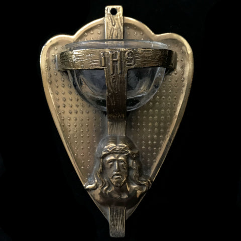 Heart-Shaped Holy Water Font with Face of Christ - The Vintage Catholic