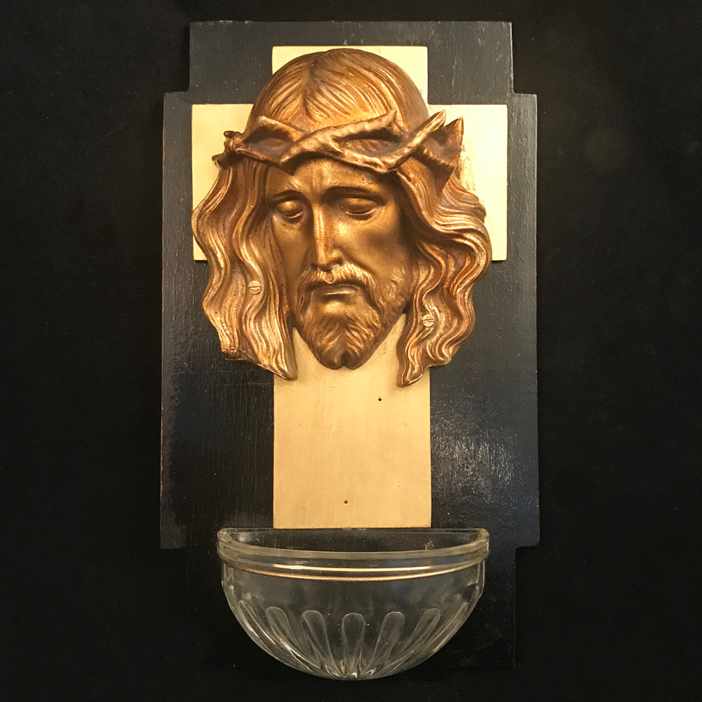 Christ Wearing the Crown of Thorns Holy Water Font