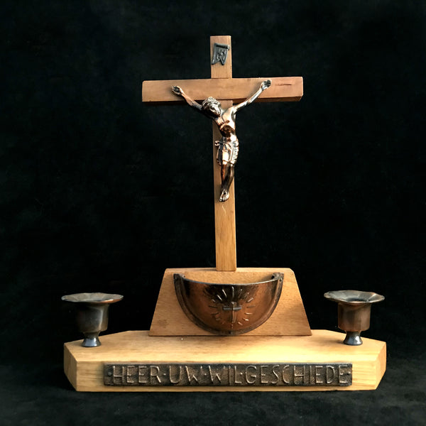 Dutch Crucifix Altar Set with Holy Water Font - The Vintage Catholic