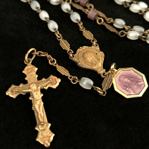 Art Deco Chaplet with Enameled Sacred Heart & St. Therese Medal - The Vintage Catholic