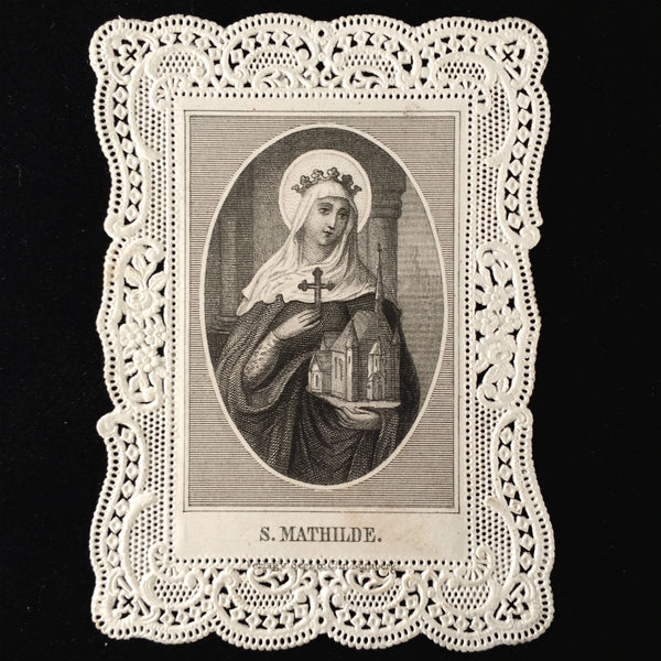 Saint Mathilde Holy Card: Patron Saint of Large Families and Misbehaving Children - The Vintage Catholic
