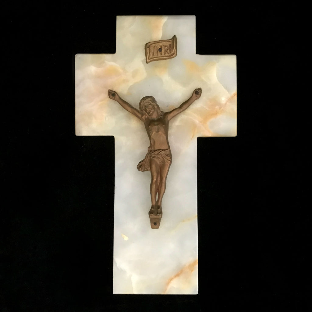 Antique Marble Crucifix from France - The Vintage Catholic