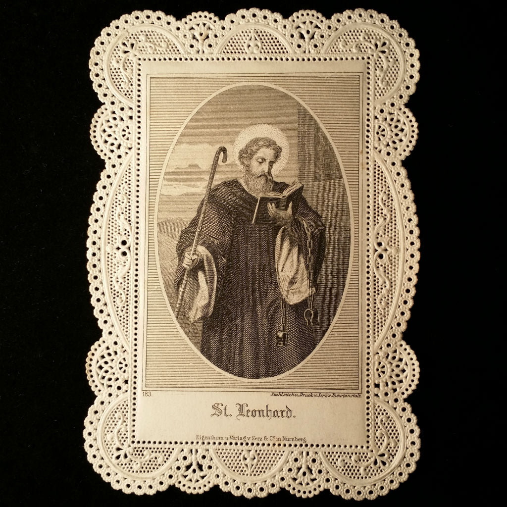 Lace Holy Card: St. Leonhard, Patron of Prisoners - The Vintage Catholic