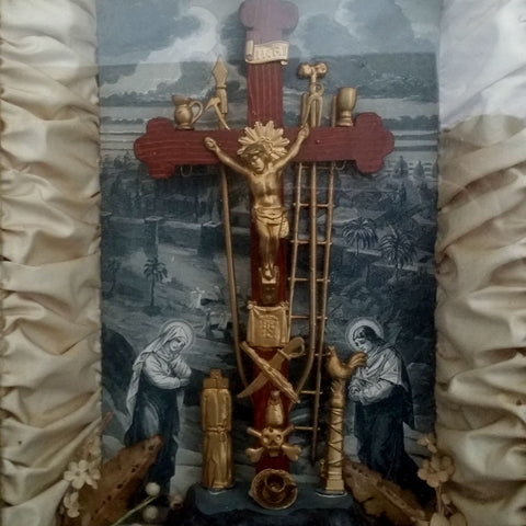 Victorian Shadowbox - Tools of the Passion - The Vintage Catholic