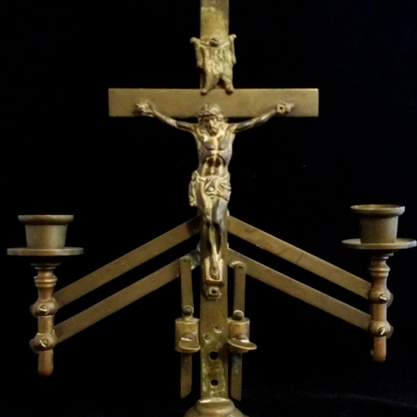 Antique Brass Crucifix Candelabra, Dominion of Canada Patent - The Vintage Catholic