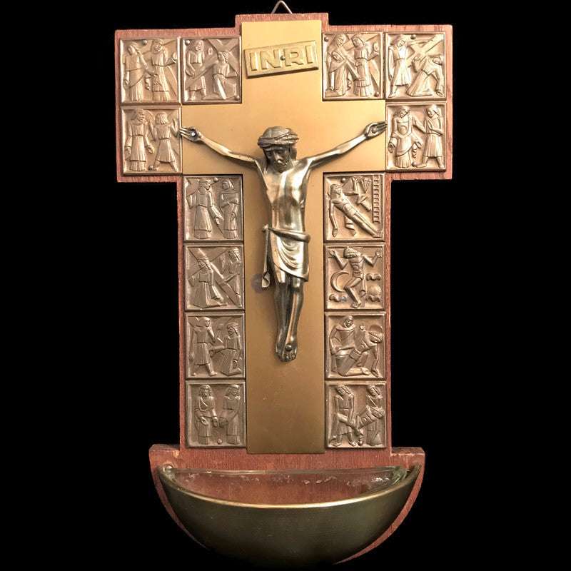 Crucifix Holy Water Font with Stations of the Cross