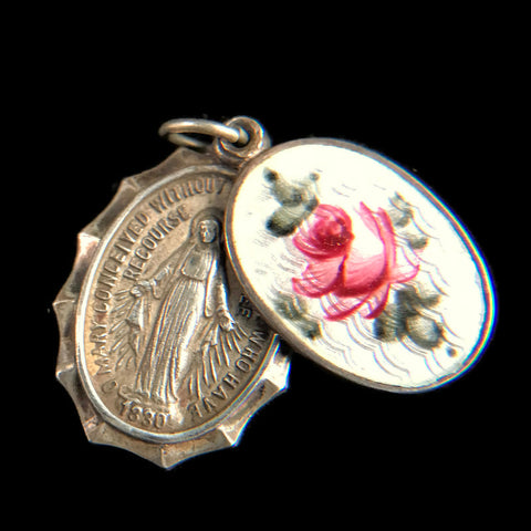 Enamel Slide Miraculous Medal with St. Joseph, Sterling