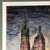 St. Mary's Basilica in Krakow, Original Ink & Watercolor, Signed