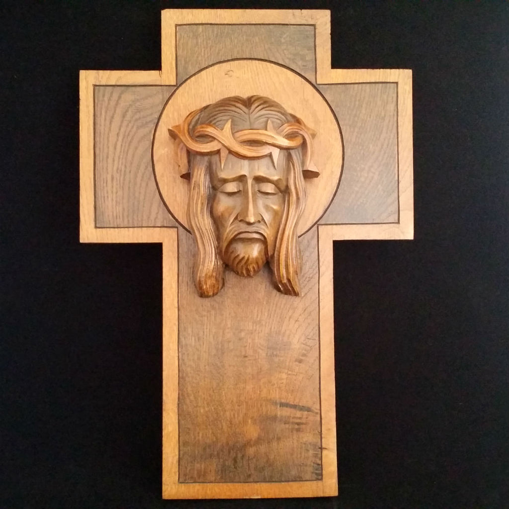 Art Deco Cross with the Holy Face of Jesus - The Vintage Catholic