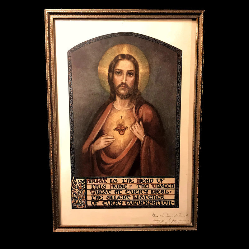 Framed Sacred Heart of Jesus with Prayer