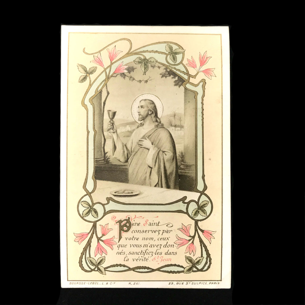 First Communion Card with Christ and Chalice, French, 1908 - The Vintage Catholic