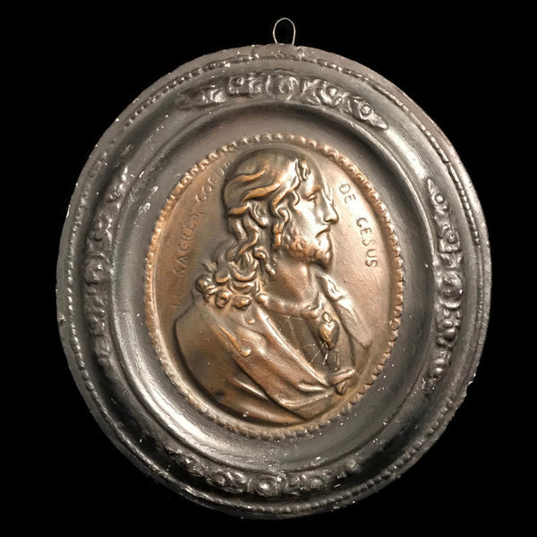 Antique French Sacred Heart of Jesus Plaque