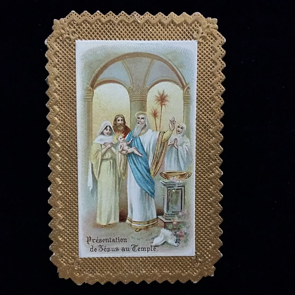 Gilded French Mystery of the Rosary Holy Card - The Vintage Catholic