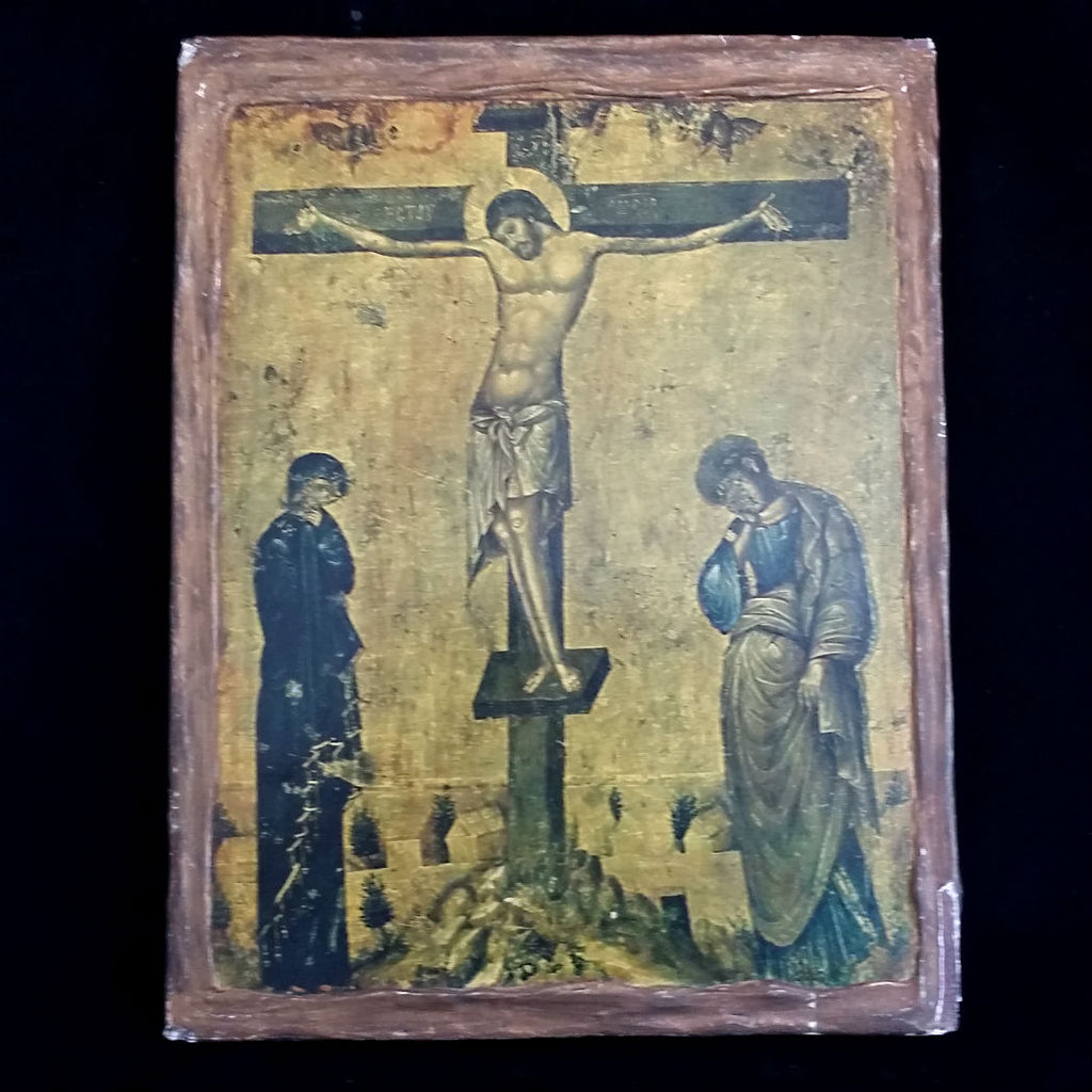Antique Icon of the Crucifixion with Mary & John - The Vintage Catholic