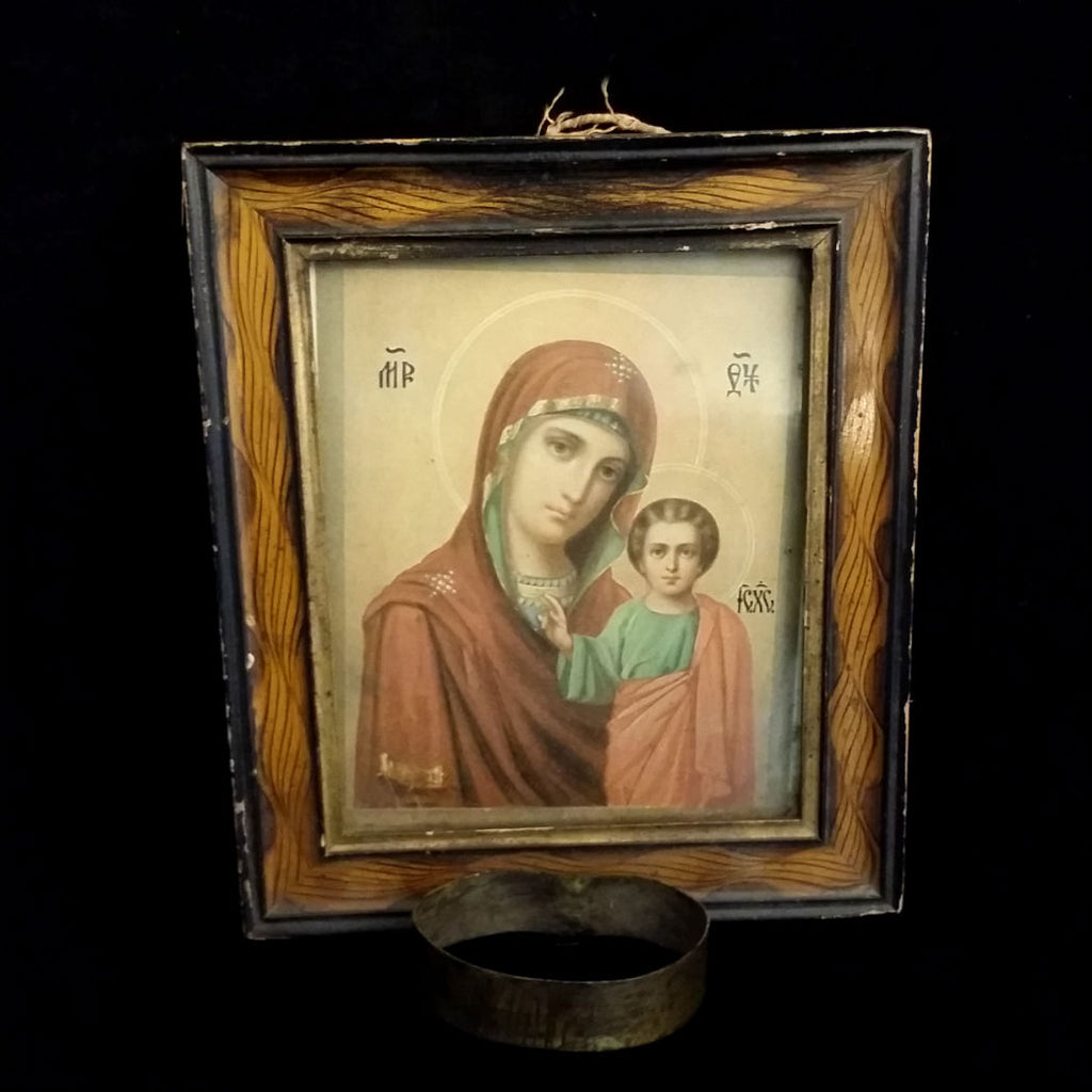 Greek Madonna & Child Icon with Candle Holder - The Vintage Catholic