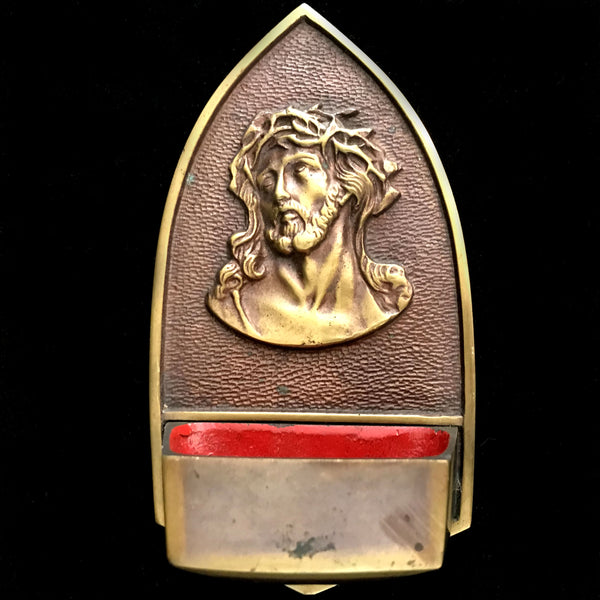 Christ with Crown of Thorns Holy Water Font - The Vintage Catholic