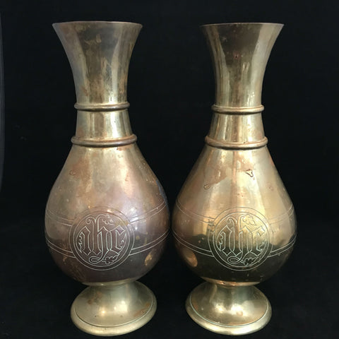 "Pair of Gorham Brass ""IHS"" Vases, 1917 - The Vintage Catholic"