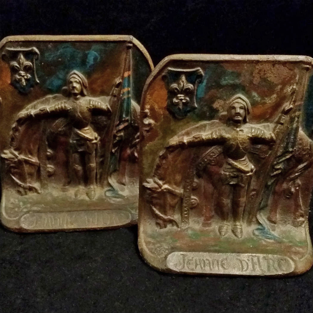 Joan of Arc Bookends, Circa 1920, Painted Bronze - The Vintage Catholic