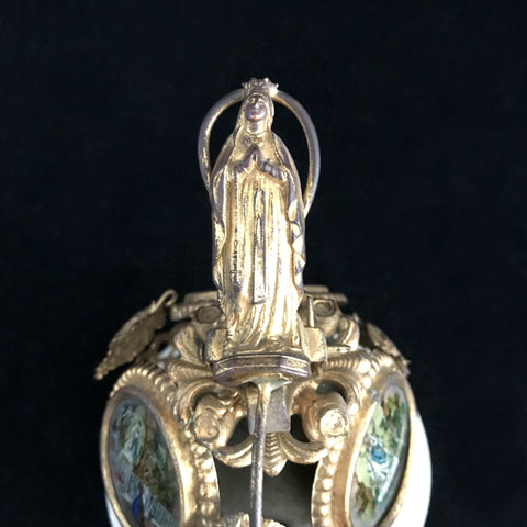 Victorian Desk Bell with Images from Lourdes - The Vintage Catholic