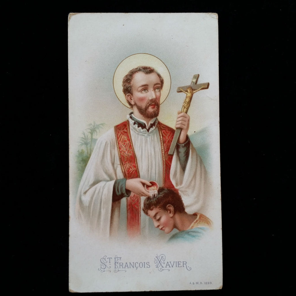 Saint Francis Xavier Prayer Card, French, 1899 - The Vintage Catholic