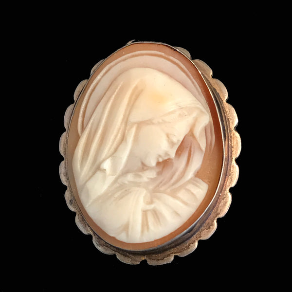 Vintage Blessed Virgin Mary Cameo Brooch or Pendant