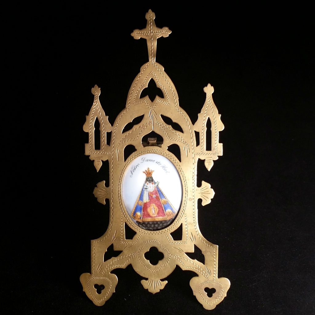 Our Lady of Hal Porcelain and Brass Retablo - The Vintage Catholic