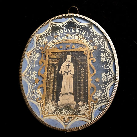 Reverse Painted Souvenir of Our Lady of Pont-Main - The Vintage Catholic