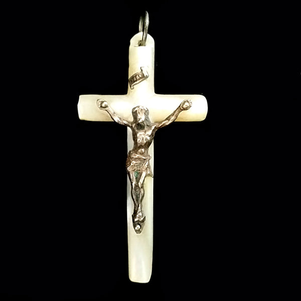 Antique Mother of Pearl Crucifix - The Vintage Catholic
