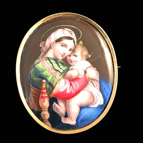 Painted Madonna & Child Brooch, 18k Gold