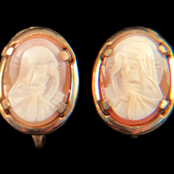 Madonna Cameo Screw Back Earrings