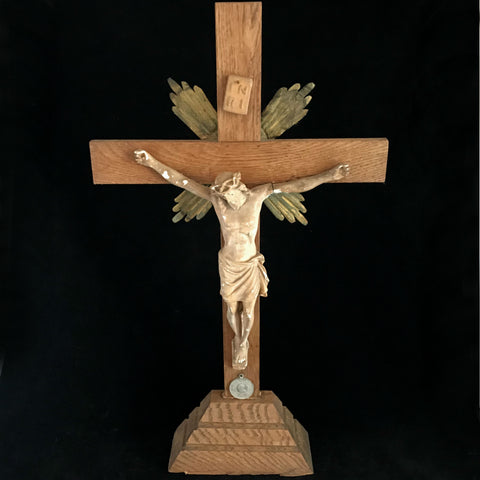 Large Crucifix with Pope Pius XI Medal - The Vintage Catholic