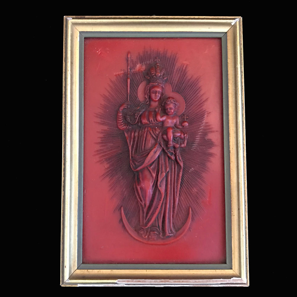 Vintage Madonna & Child German Wax Art - The Vintage Catholic