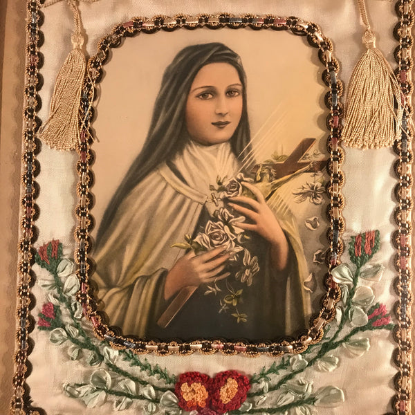 Antique Framed Saint Therese Banner