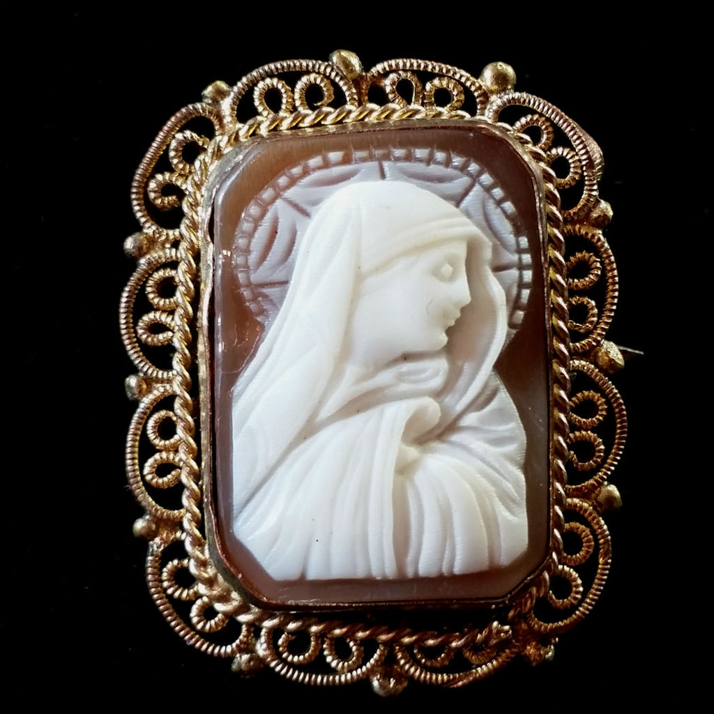 Antique Madonna Cameo with Filigree - The Vintage Catholic