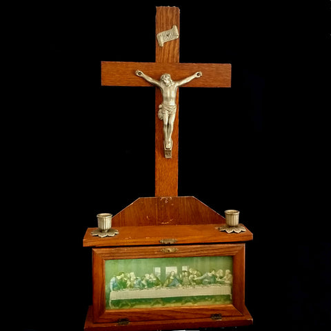Last Rites Box with Large Crucifix - The Vintage Catholic