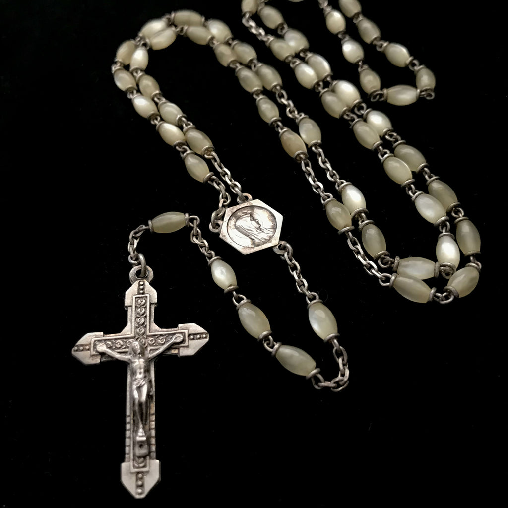 Collector's Rosary with Mother-of-Pearl Beads - The Vintage Catholic