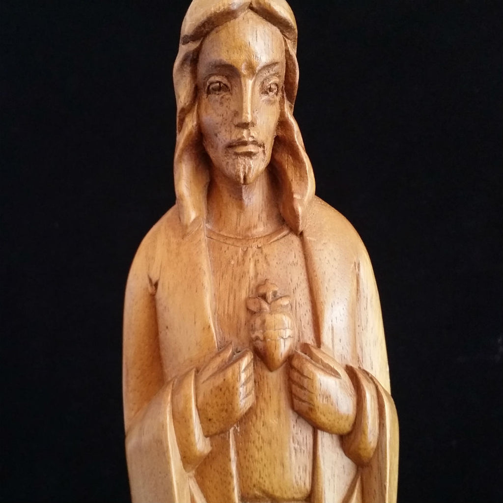 Hand-Carved Sacred Heart of Jesus Statue - The Vintage Catholic