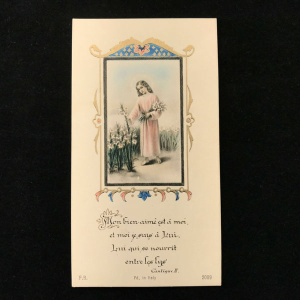 French Holy Card, Christ in a Field of Lilies, 1946 - The Vintage Catholic