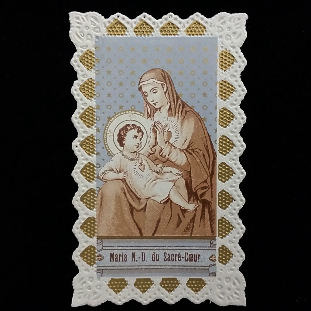 Antique Madonna & Child Sacred Heart Holy Card - The Vintage Catholic