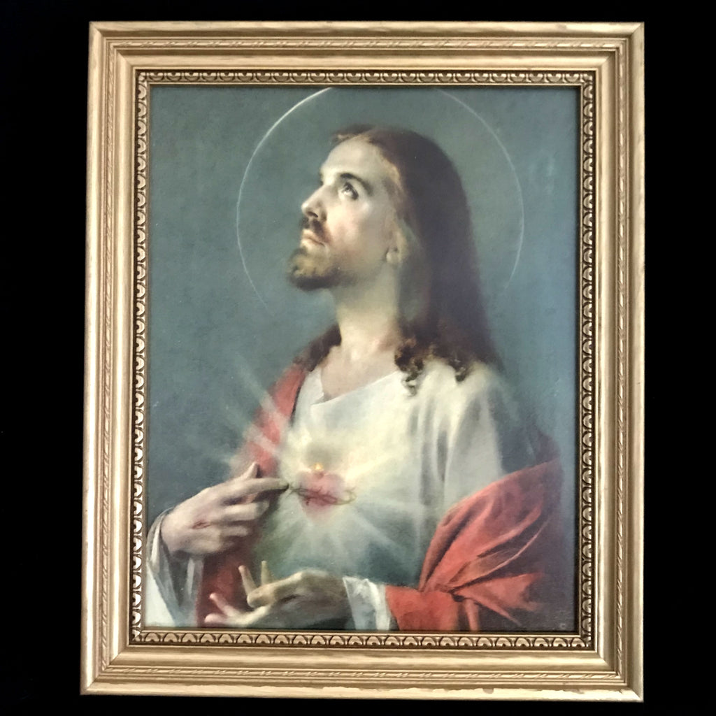 Sacred Heart of Jesus Lithograph Last Rites Set - The Vintage Catholic
