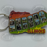 Greetings From Aurora, Illinois Keychain