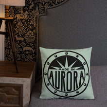 Load image into Gallery viewer, Made In Aurora Graphic Pillow -- Web Store Exclusive