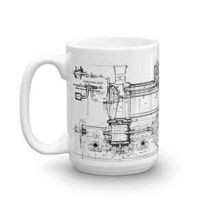 Locomotive Vintage Blueprint Mug - Web Store Exclusive