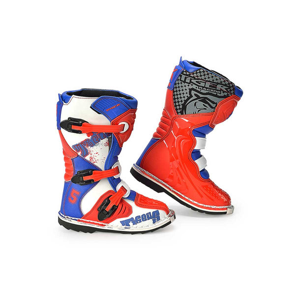 Kids Motocross Boots Red White and Blue
