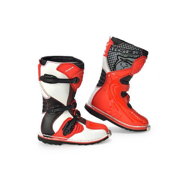 Kids Motocross Boots Red White