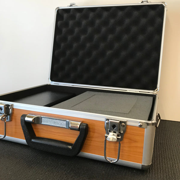Silver Aluminum Carrying Case with Faux Wood Grain Finish