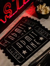 Load image into Gallery viewer, Admit One Retro Metal Movie Ticket - Home Theater Decor