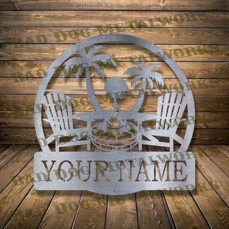 Beach Fire Pit Monogram - Dxf and Svg