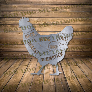 Chicken Cuts Butcher's Diagram - DXF and SVG File