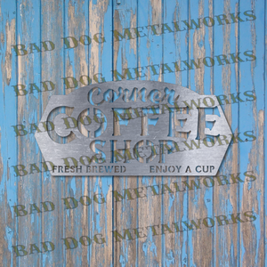 Corner Coffee Shop Sign - Svg and Dxf
